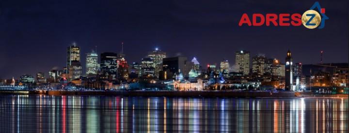 Montreal night-time skyline with Adresz