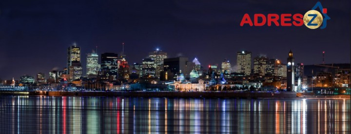 Montreal night-time skyline with Adresz